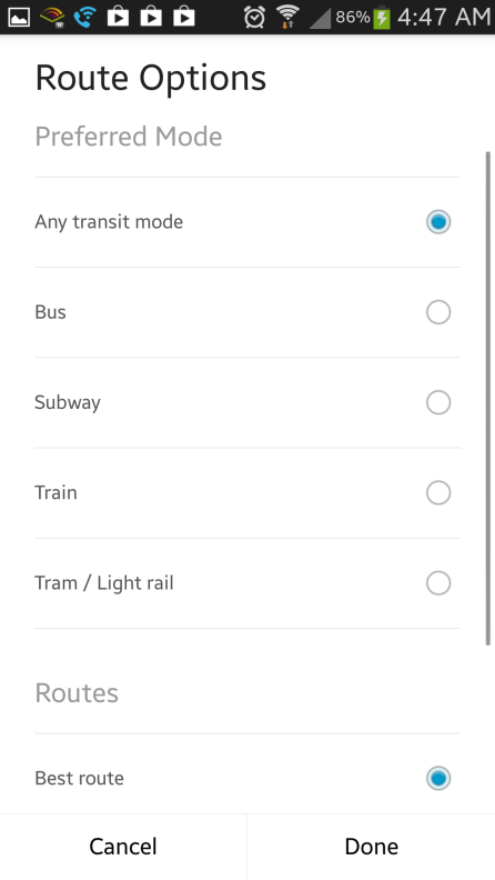 You can choose your preferred method of transportation when using the public transit directions.
