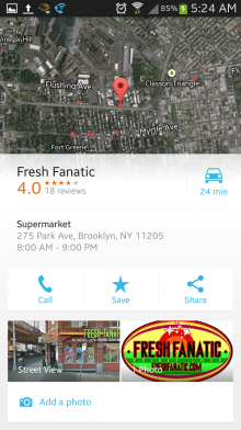Choosing a location brings up ratings and reviews for that place. Clearly Google is challenging Yelp on this.