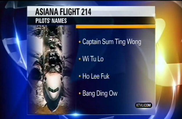 Station KTVU in Oakland Gets Pranked with Obviously Fake Asiana Pilots' Names   slothed