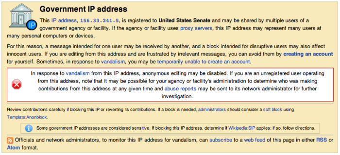 Wikipedia blocks Senate IP address due to 'vandalism' on the Edward Snowden article
