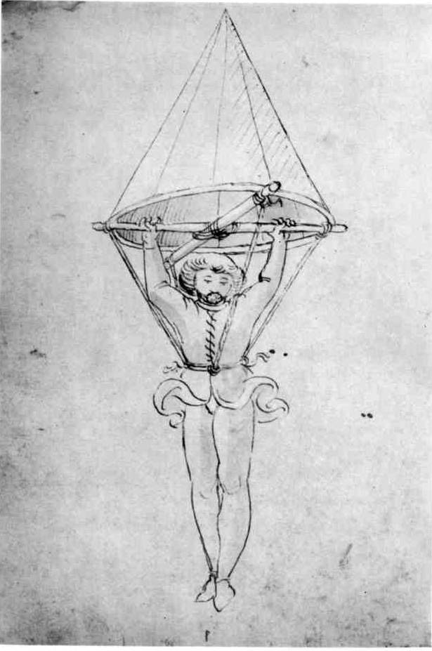 The oldest known depiction of a parachute, by an anonymous author (Italy, 1470s)