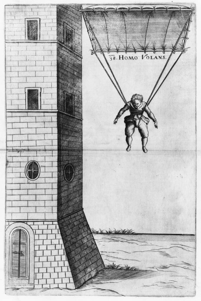 "Veranzio's 1595 parachute design titled ""Flying Man"""