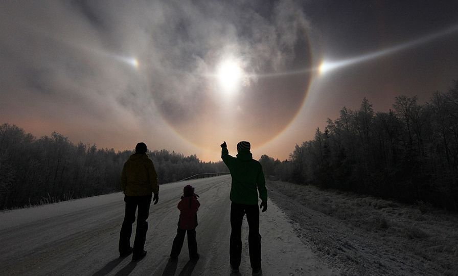 The circle around the sun is a 22° circular halo