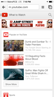 Step 1: Navigate to YouTube using Chrome (or Safari, FF etc.)