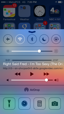 Step 4: Swipe up the bottom menu and whatever you were listening to is loaded up. Press play, lock your phone and enjoy your audio.