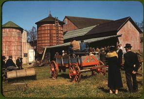 Farm auction. Derby, Connecticut, September 1940. Reproduction from color slide. Photo by Jack Delano. Prints and Photographs Division, Library of Congress