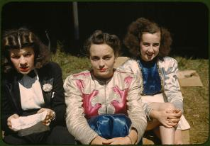 """Backstage at the """"girlie"""" show at the state fair. Rutland, Vermont, September 1941. Reproduction from color slide. Photo by Jack Delano. Prints and Photographs Division, Library of Congress"""