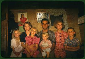 Jack Whinery, homesteader, and his family. Pie Town, New Mexico, October 1940. Reproduction from color slide. Photo by Russell Lee. Prints and Photographs Division, Library of Congress