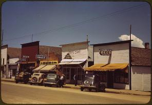 On main street of Cascade. Cascade, Idaho, July 1941. Reproduction from color slide. Photo by Russell Lee. Prints and Photographs Division, Library of Congress
