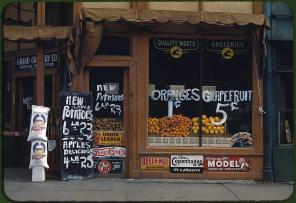 Grand Grocery Company. Lincoln, Nebraska, 1942. Reproduction from color slide. Photo by John Vachon. Prints and Photographs Division, Library of Congress