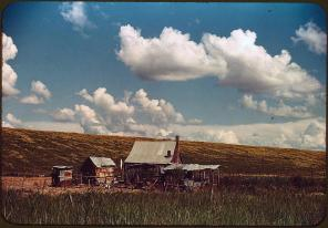 African American's tenant's home beside the Mississippi River levee. Near Lake Providence, Louisiana, June 1940. Reproduction from color slide. Photo by Marion Post Wolcott. Prints and Photographs Division, Library of Congress