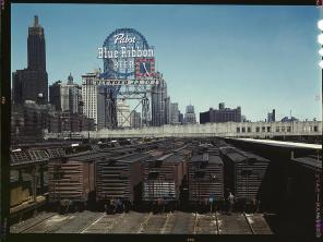 General view of part of the South Water Street freight depot of the Illinois Central Railroad Chicago, Illinois, May 1943. Reproduction from color slide. Photo by Jack Delano. Prints and Photographs Division, Library of Congress
