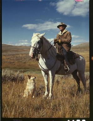 Shepherd with his horse and dog on Gravelly Range Madison County, Montana, August 1942. Reproduction from color slide. Photo by Russell Lee. Prints and Photographs Division, Library of Congress