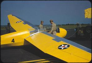 Marine glider at Page Field. Parris Island, South Carolina, May 1942. Reproduction from color slide. Photo by Alfred T. Palmer. Prints and Photographs Division, Library of Congress