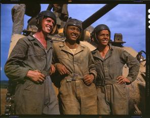 M-4 tank crews of the United States. Fort Knox, Kentucky, June 1942. Reproduction from color slide. Photo by Alfred T. Palmer. Prints and Photographs Division, Library of Congress