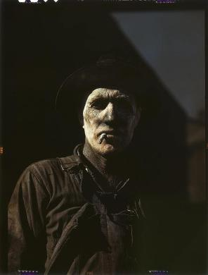Worker at carbon black plant. Sunray, Texas, 1942. Reproduction from color slide. Photo by Worker at carbon black plant John Vachon. Prints and Photographs Division, Library of Congress