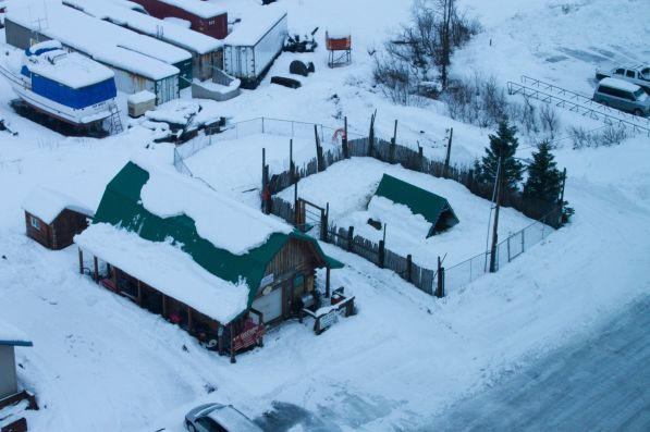 The reindeer pen as seen from above.